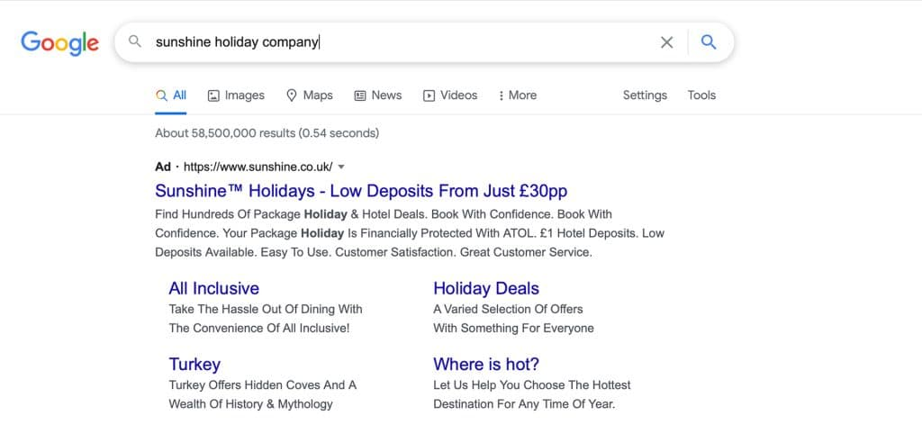 Google search with Ads