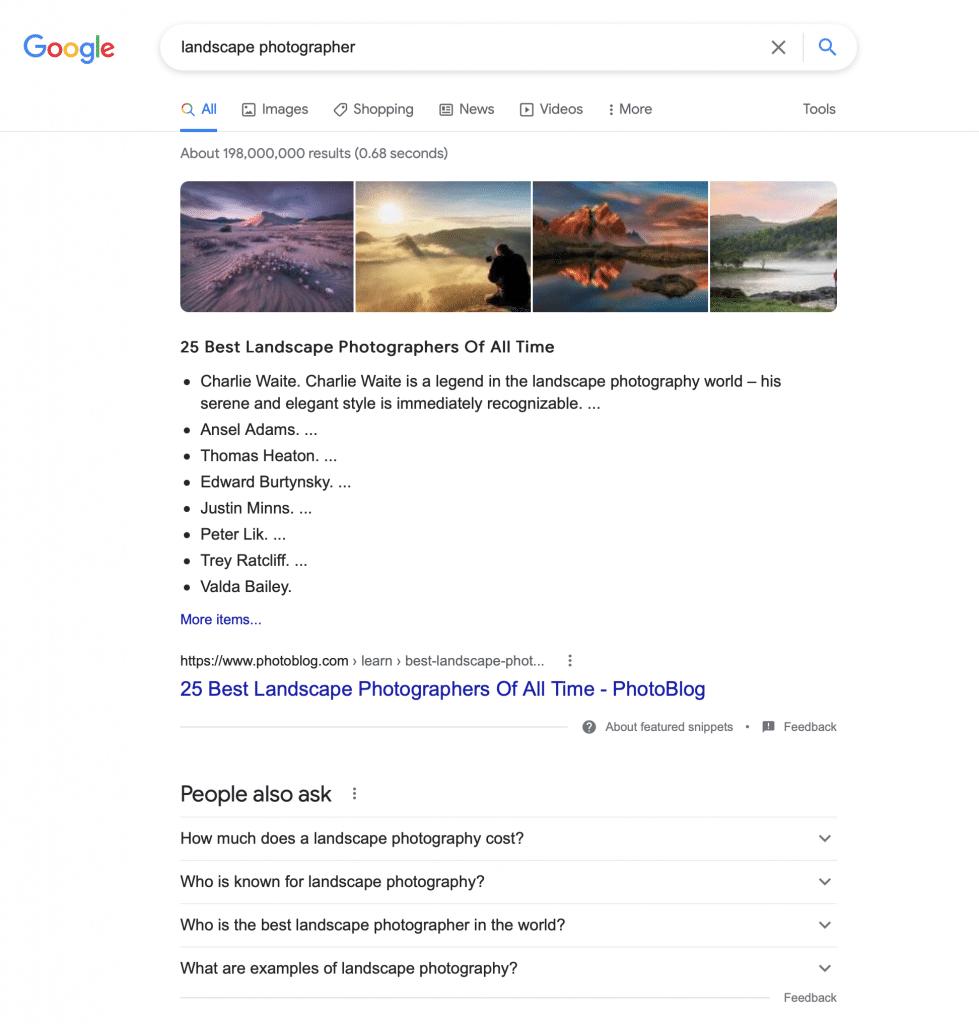 Landscape Photographer Search